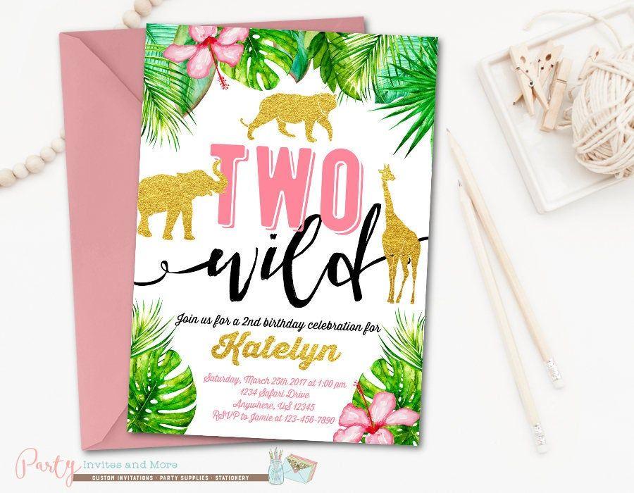 Two Wild Birthday Invitation, Safari Birthday Invitation