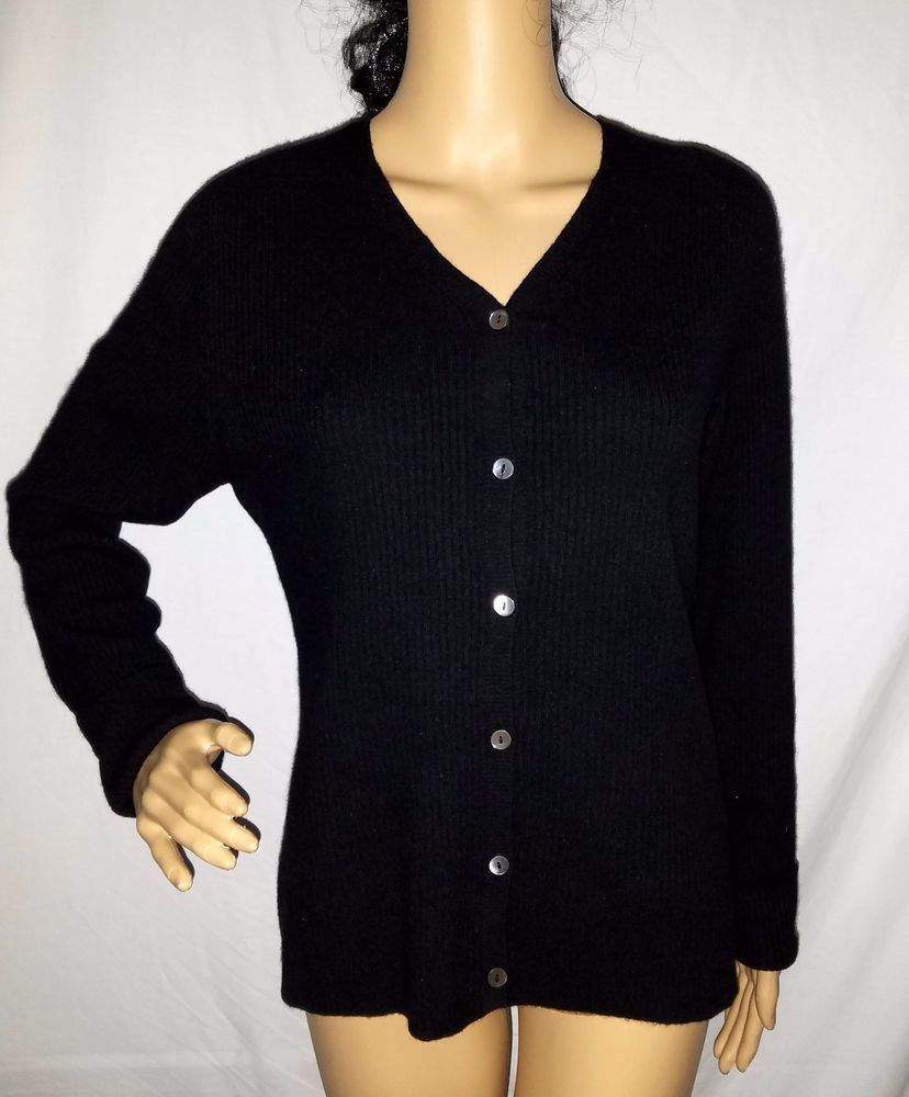 Banana Republic BLACK 100% Cashmere Button down CARDIGAN Ribbed ...