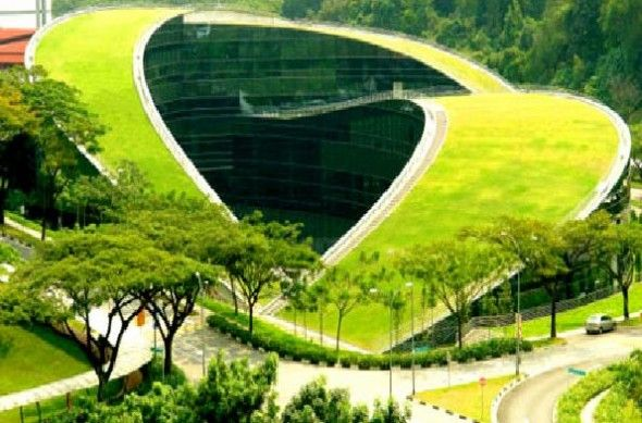 One Of The Most Amazing Green Roofs In The World Is At The School Of Art,  Design And Media At Nanyang Technological University In Singapore.