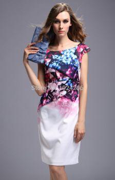 new 2015 women spring complex vestidos femininos Digital printing O-collar vintage dress plus size party dress slim cherrykeke