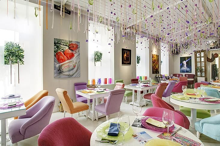 Restaurant Design Amazing With Colorful Furniture And Decoration Definition
