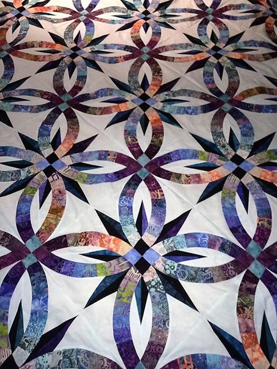 Bali Wedding Star Quiltworx Com Made By Millie Bires Double Wedding Ring Quilt Quilts Wedding Ring Quilt