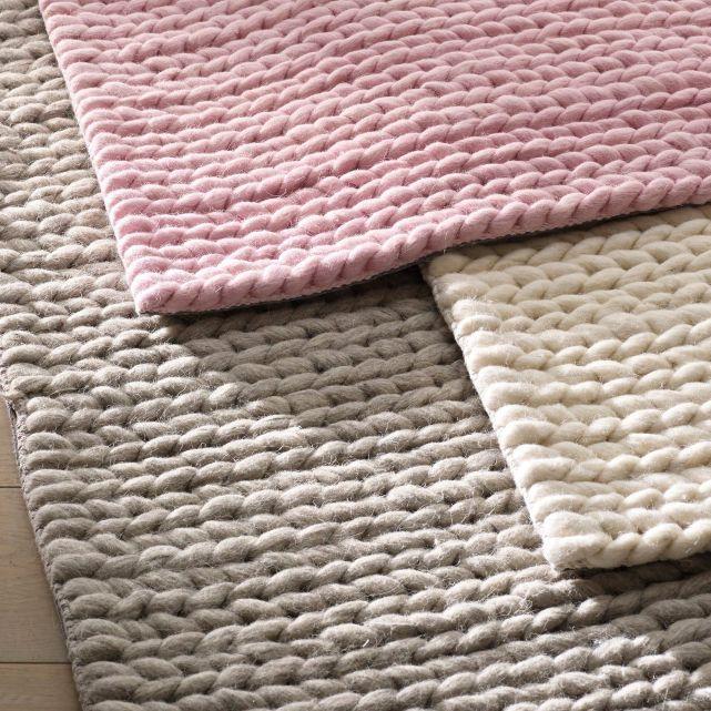tapis en pure laine effet maille tress e 3 tailles. Black Bedroom Furniture Sets. Home Design Ideas