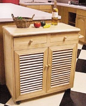 Stylish cabinet style kitchen cart includes wine storage by Wood-Tech Designs.