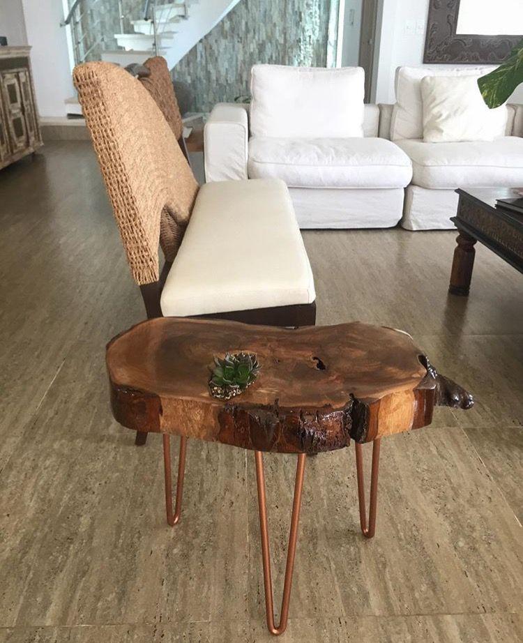 Mesa Auxiliar Madera Rustica Mesita Tronco Coffe Table Wood Table
