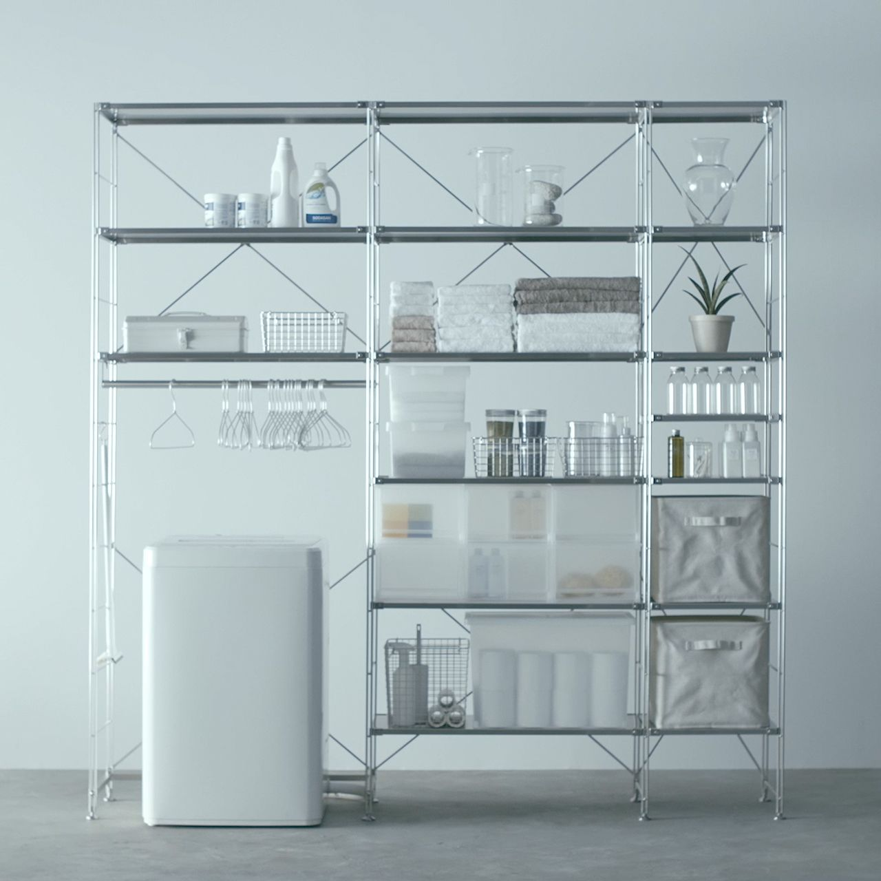Unit Shelf Use for bath + laundry goods Compact Life