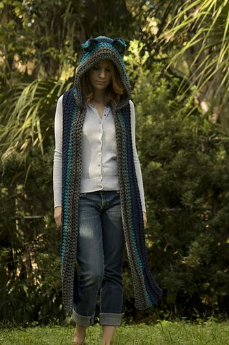 Hooded Scarf with Cat Ears, Cat Scoodie pattern by Melissa Grice ...