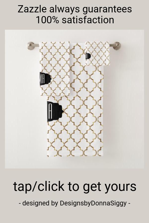 Elegant Black White And Gold Quatrefoil Patterns Bath Towel Set Zazzle Com In 2020 Patterned Bath Towels Towel Set Quatrefoil Pattern
