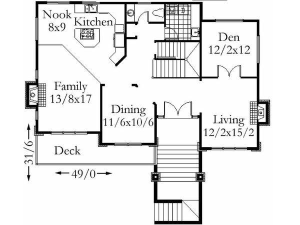 Move Entry to Den - Modern Style House Plan - 3 Beds 2.5 Baths 2310 Sq/Ft Plan #509-49 Floor Plan - Main Floor Plan - Houseplans.com