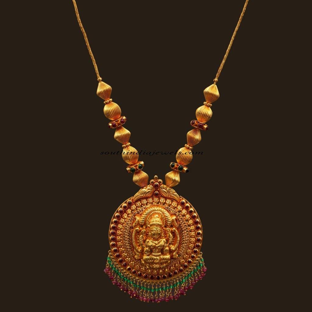 Antique jewellery necklace with lakshmi pendant happy pinterest