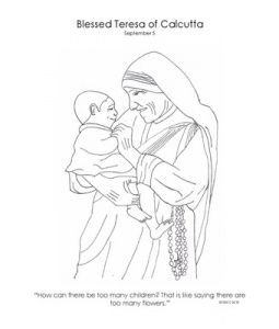 Coloring Page Of Mother Teresa For Catholic Kids Catholic