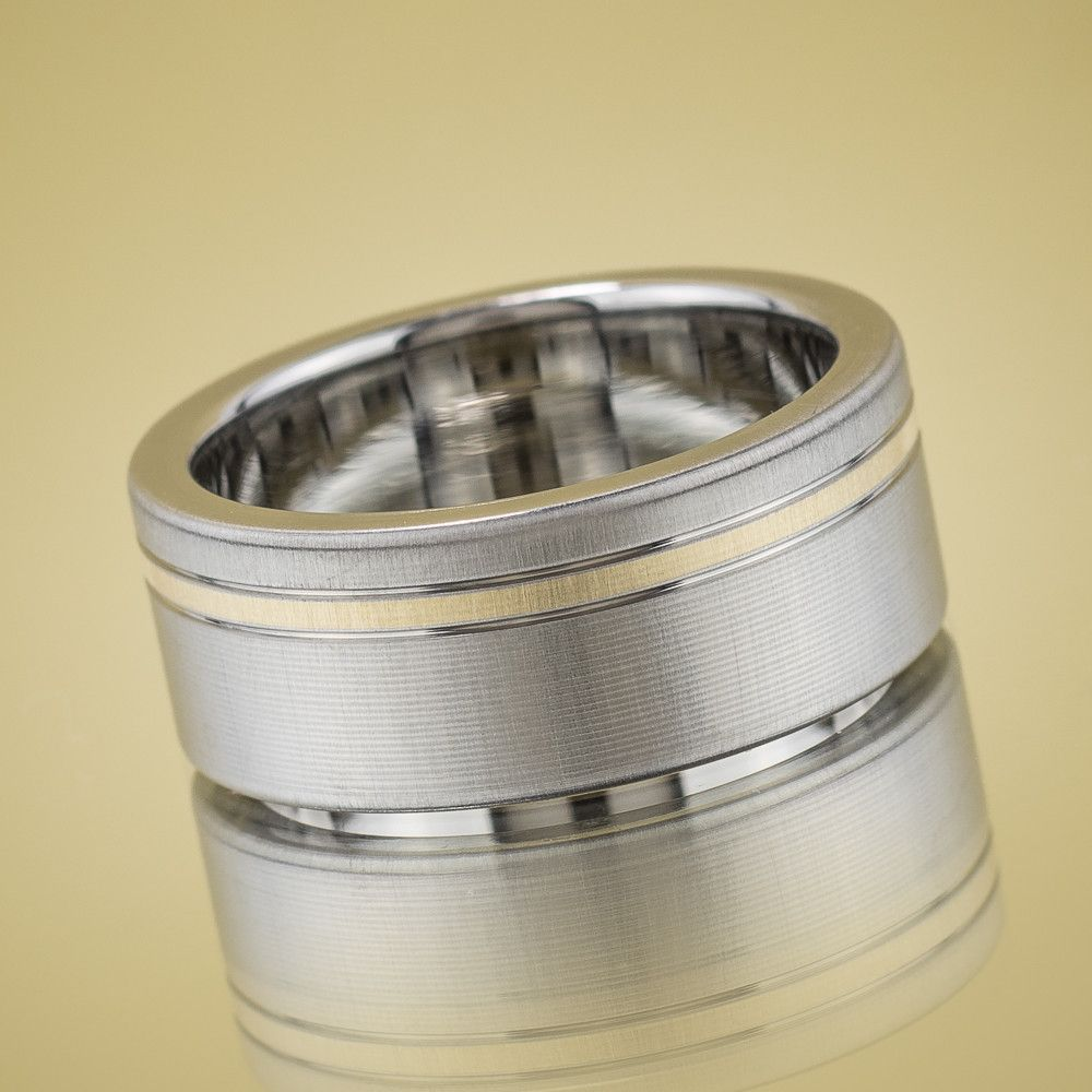 Inconel Wedding Ring with Gold Inlay Products Gold and Wedding