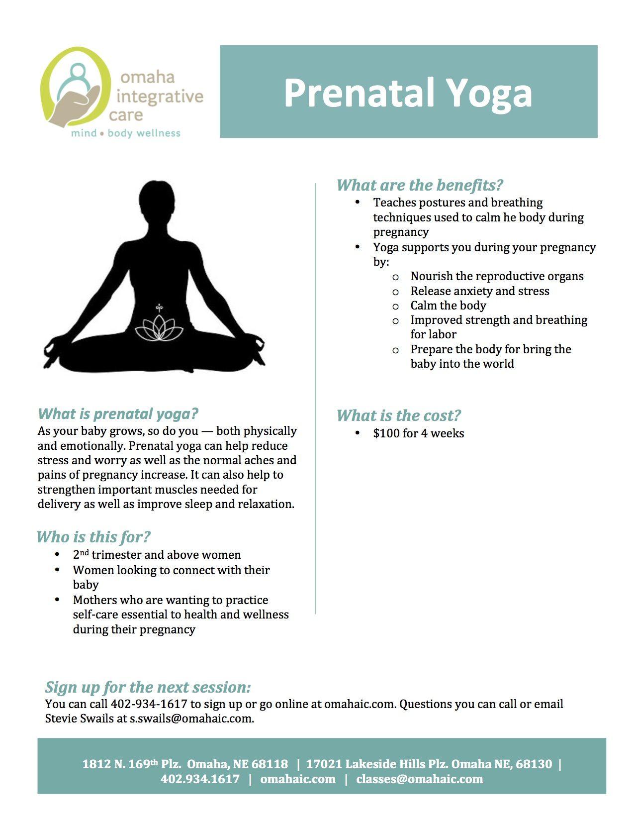 Prenatal Yoga At Oic Prenatal Yoga Yoga Flyer Yoga
