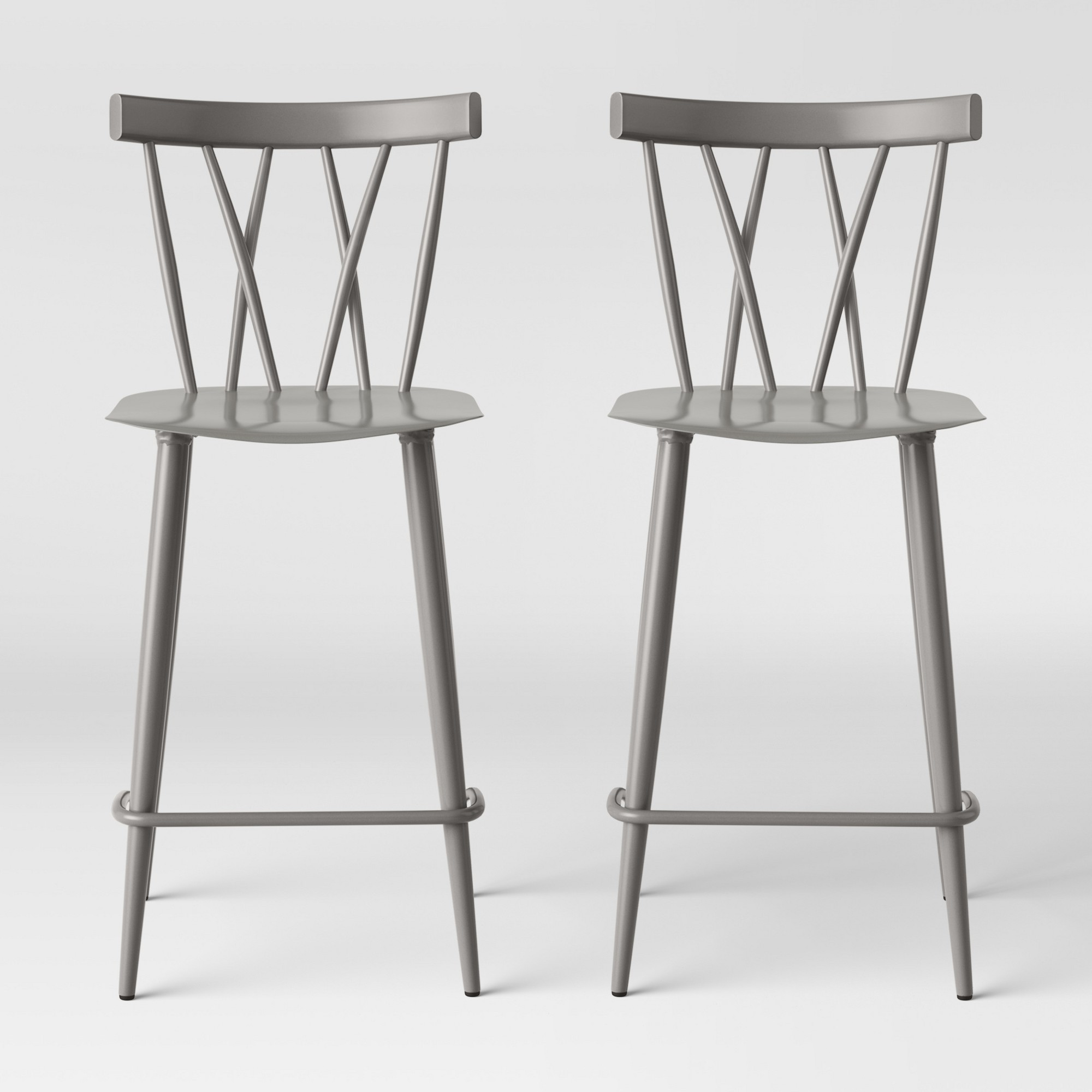 Set Of 2 Becket Metal X Back Counter Stool Gray Project