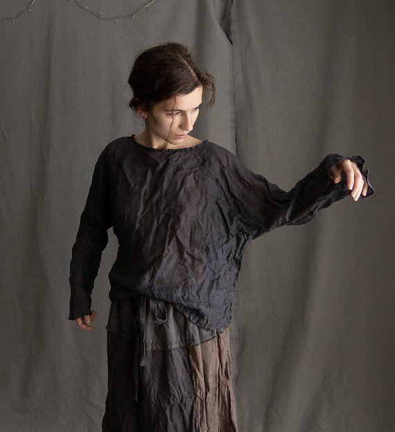 f298f0311 Women's linen gauze black blouse BUTTERFLY. Linen shirt black linen shirt  top loose shirt linen wome