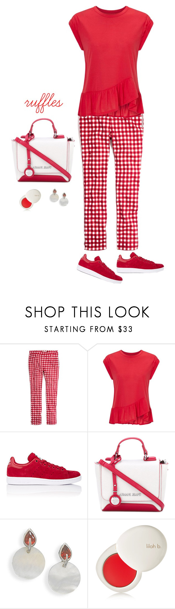 """""""Red Ruffles"""" by musicfriend1 ❤ liked on Polyvore featuring Madewell, Miss Selfridge, adidas, Armani Jeans, BillyTheTree and lilah b."""