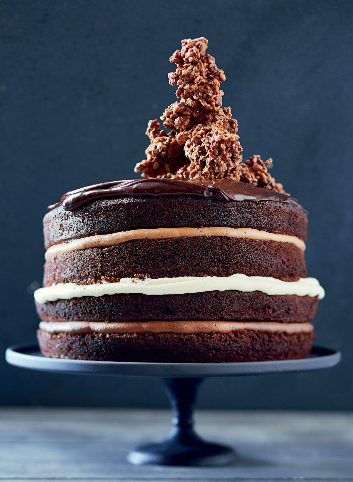 Chocfudge layer cake with rice krispie clusters recipe