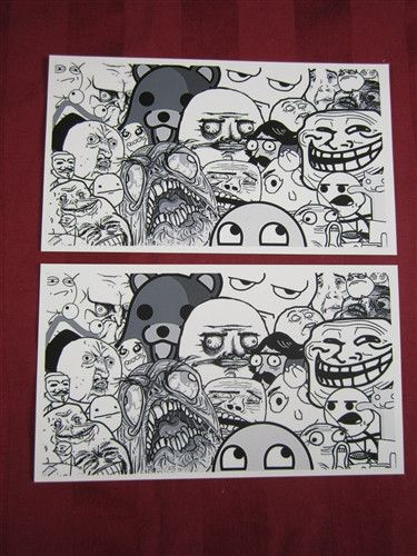 Troll rage faces y u no crowd meme lot of 2 peel and stick