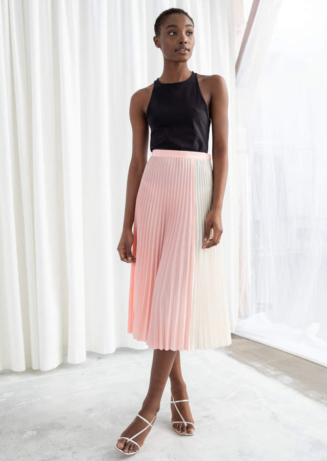 010b1bc072 Duo Toned Pleated Midi Skirt in 2019   Products   White midi skirt ...