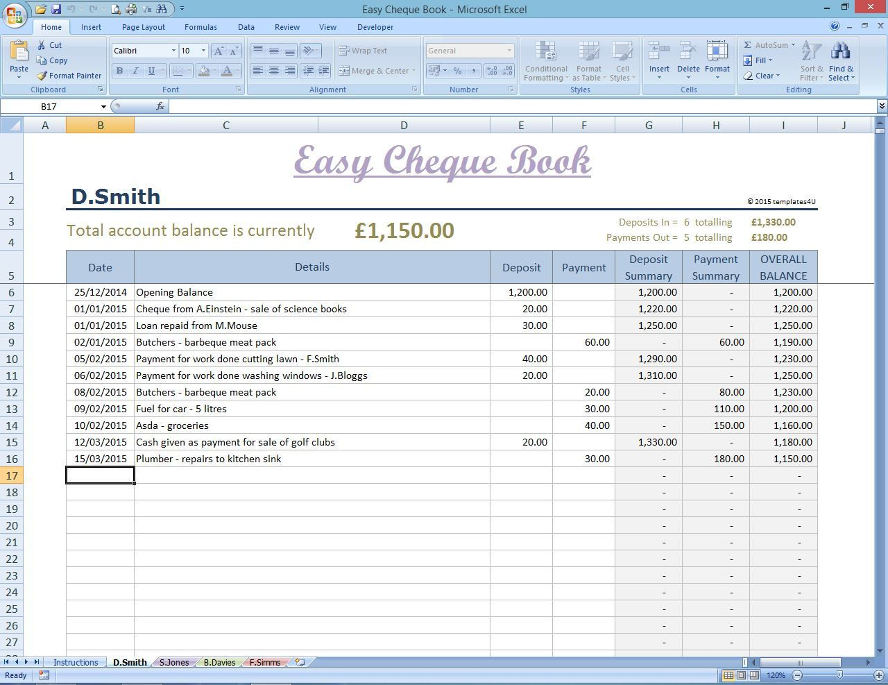 Easy Cheque Book Template. Excel Finance Spreadsheet. Money Manager ...