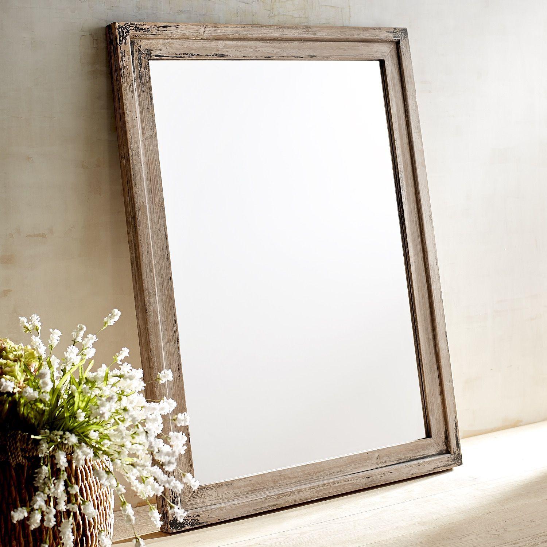 Ville Whitewashed Wood Framed 36x48 Mirror
