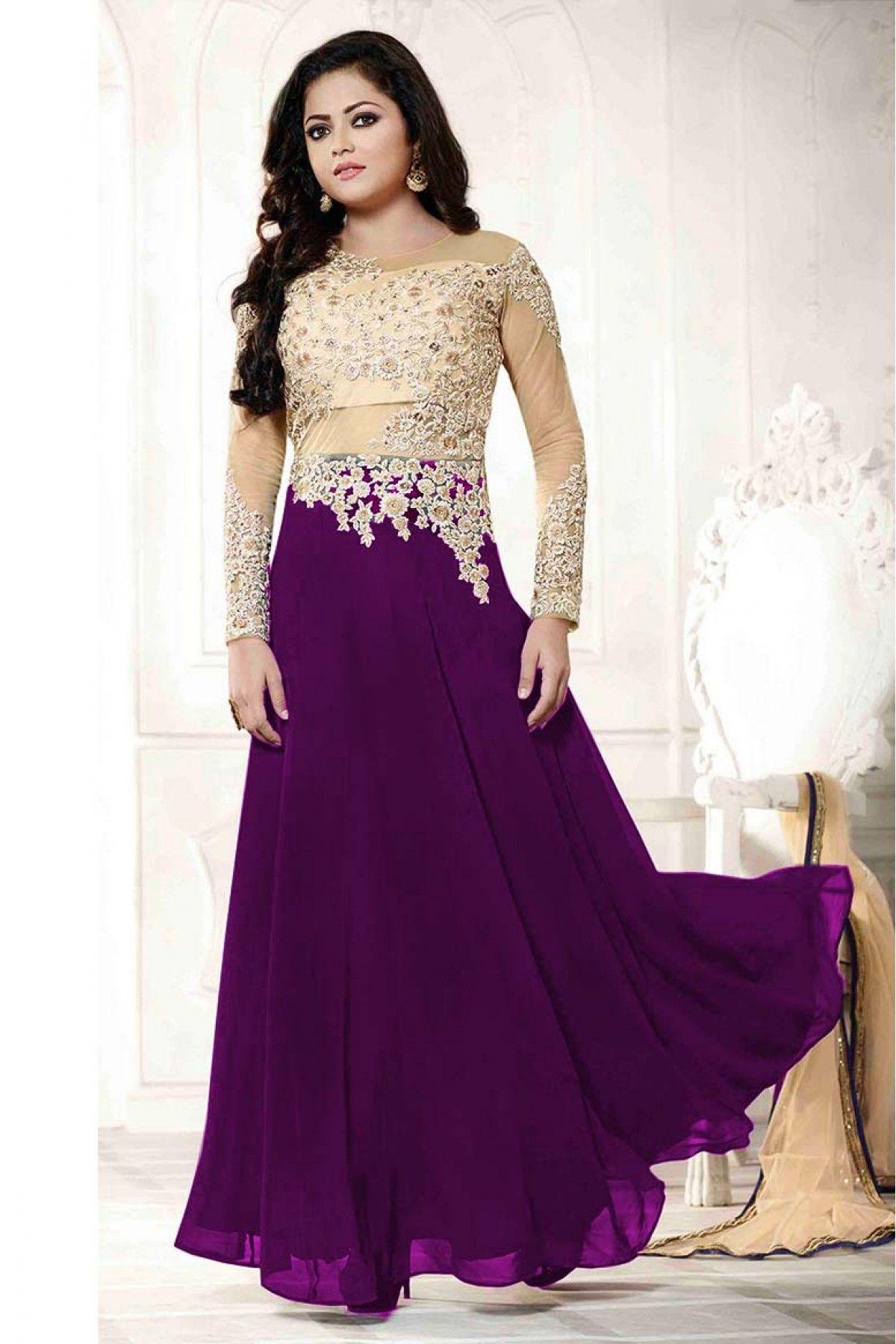 6672045692b Georgette Party Wear Anarkali Suit in Purple Colour
