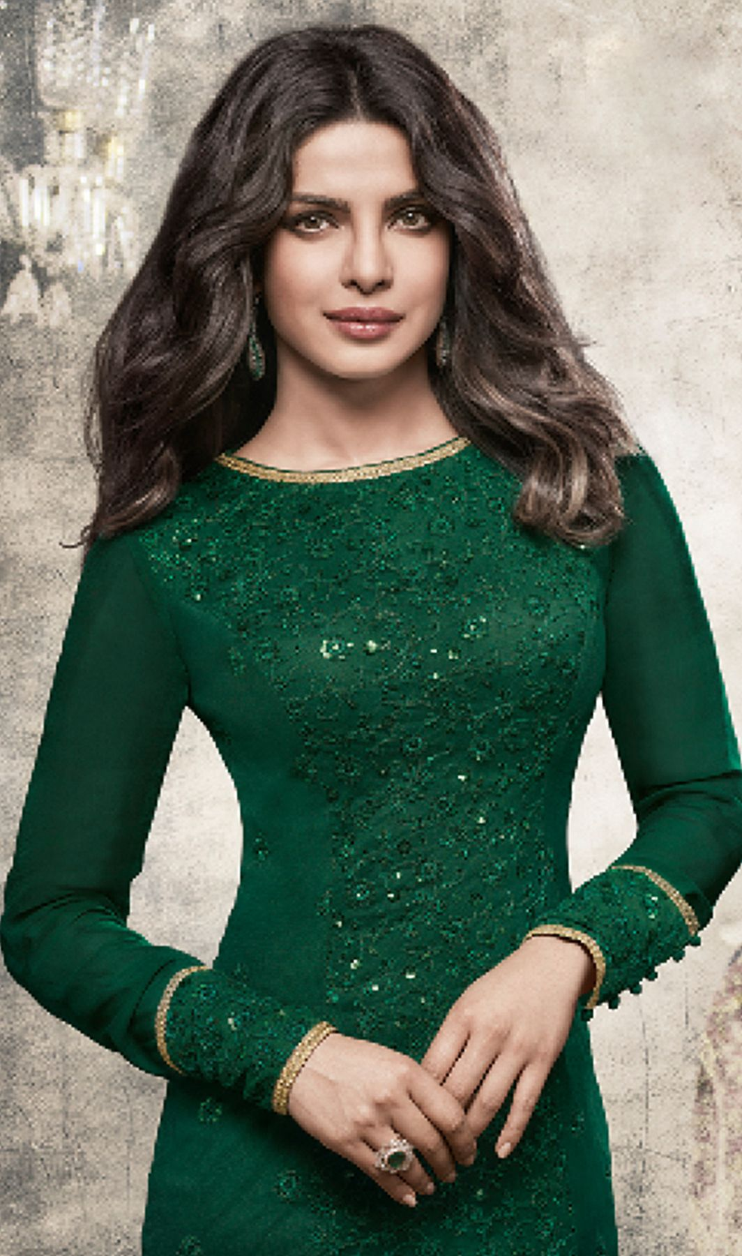 e9d2abb46fb113 Priyanka Chopra Dark Green Color Georgette Chudidar Suit | Celebrity ...