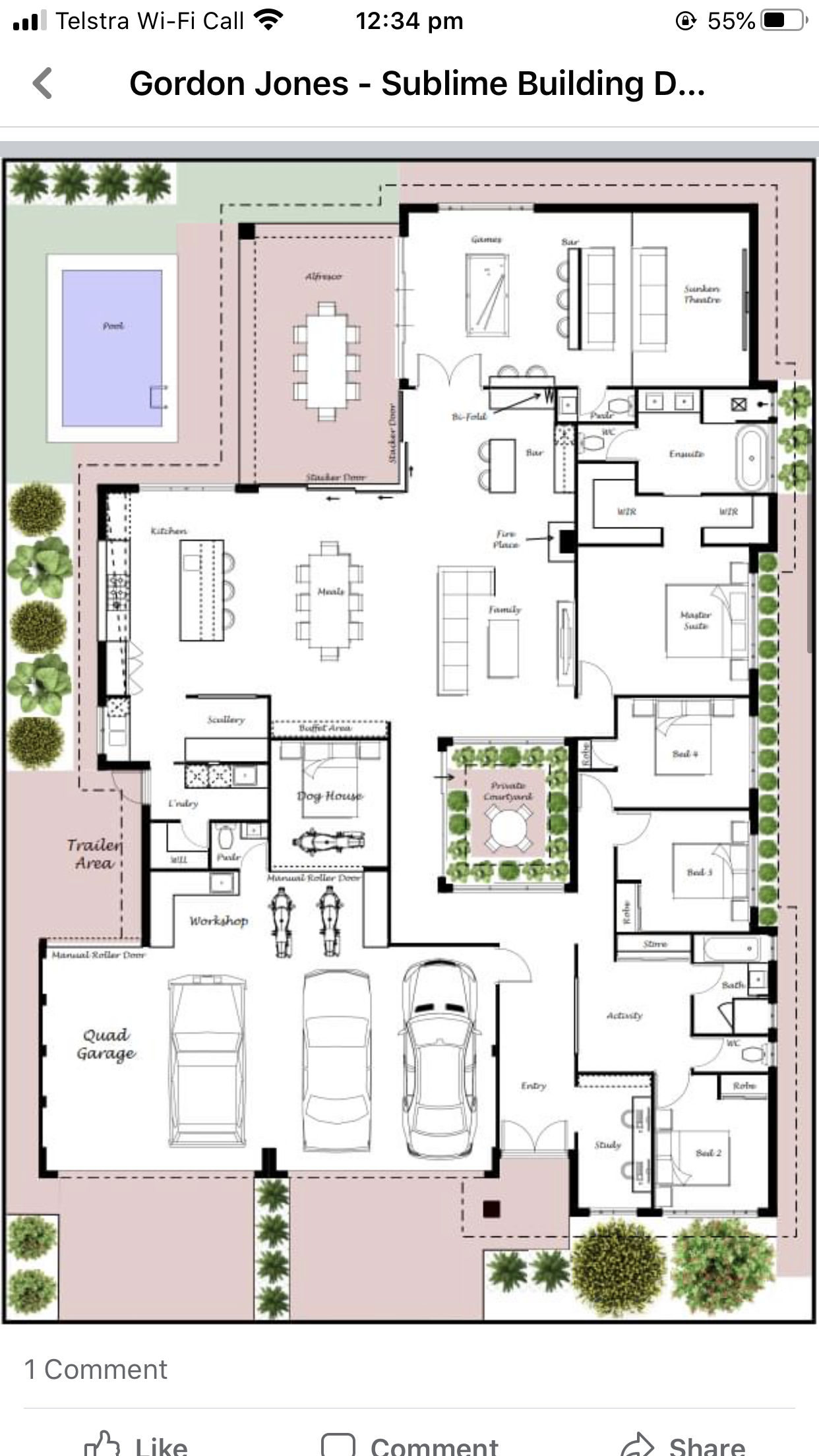 Move Courtyard To Left For Straight Thorough Way To Living House Construction Plan Model House Plan House Plan Gallery