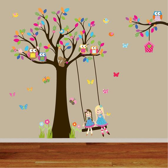 New Design Baby Girl Tree Decal Nursery Wall Stickers Colorful Tree Owl  Dolls Swing Wall Decal Part 92