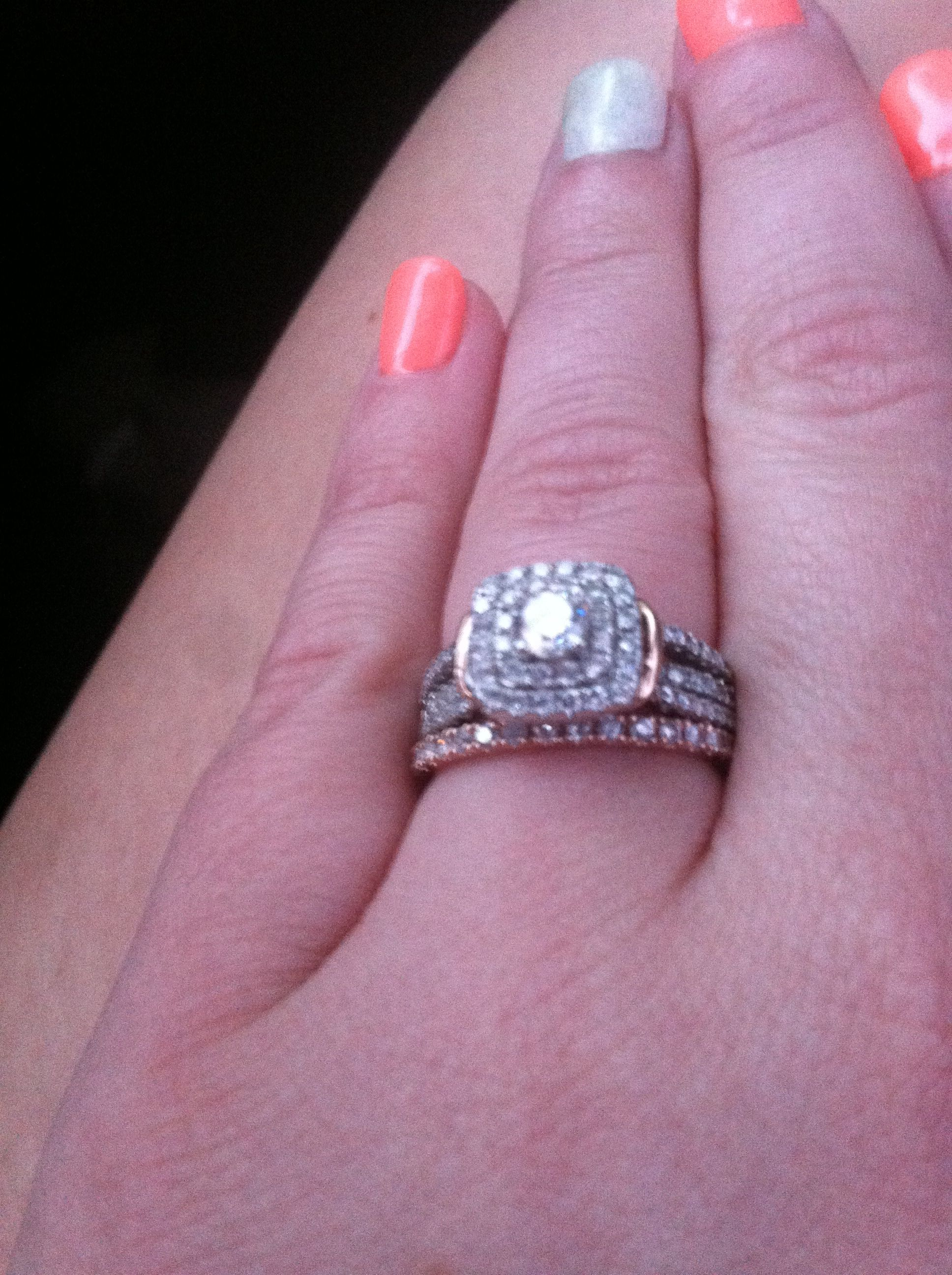 He went to Jared! Rose gold wedding band and halo with white gold ...