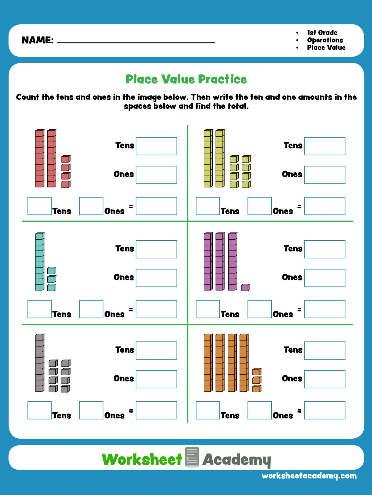 Place Value Practice   First grade math worksheets [ 1982 x 1487 Pixel ]