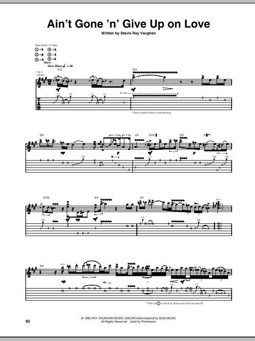 Ain\'t Gone \'n\' Give Up On Love by Stevie Ray Vaughan - Guitar Tab ...