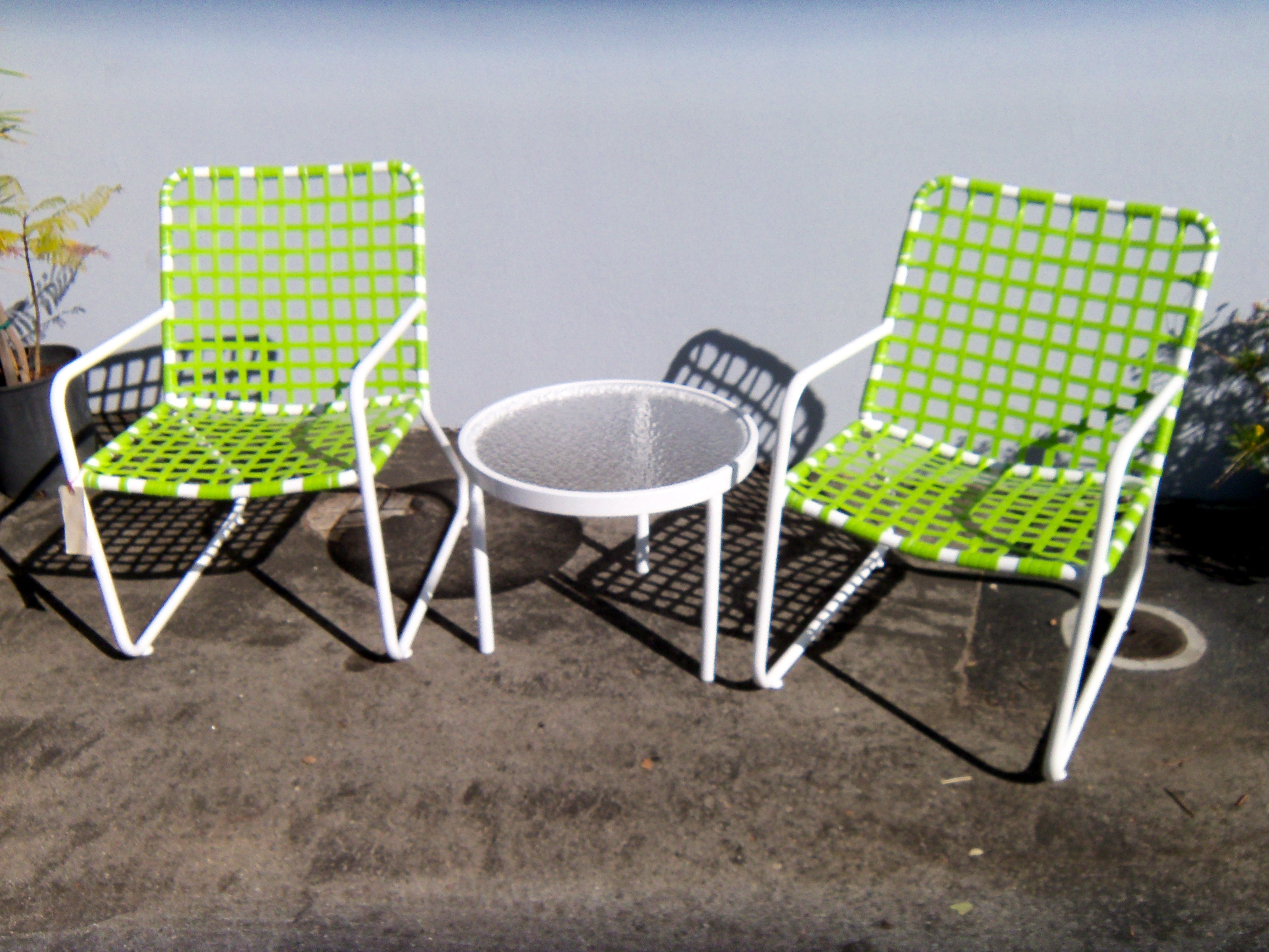 Lido Lace Chair In Lime Green On White Frames.