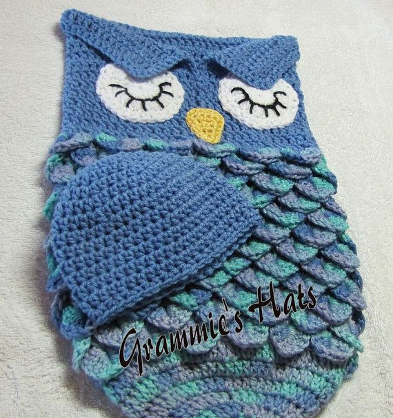 Blue owl baby cocoon and beanie | Pinterest