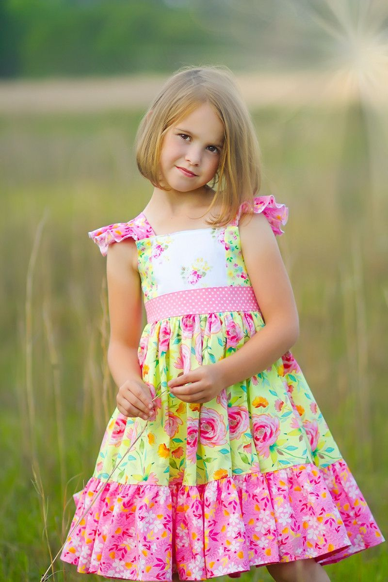 68dc88984f57 The Sophia dress is a handmade vintage style girls summer dress in bright  pink and yellow