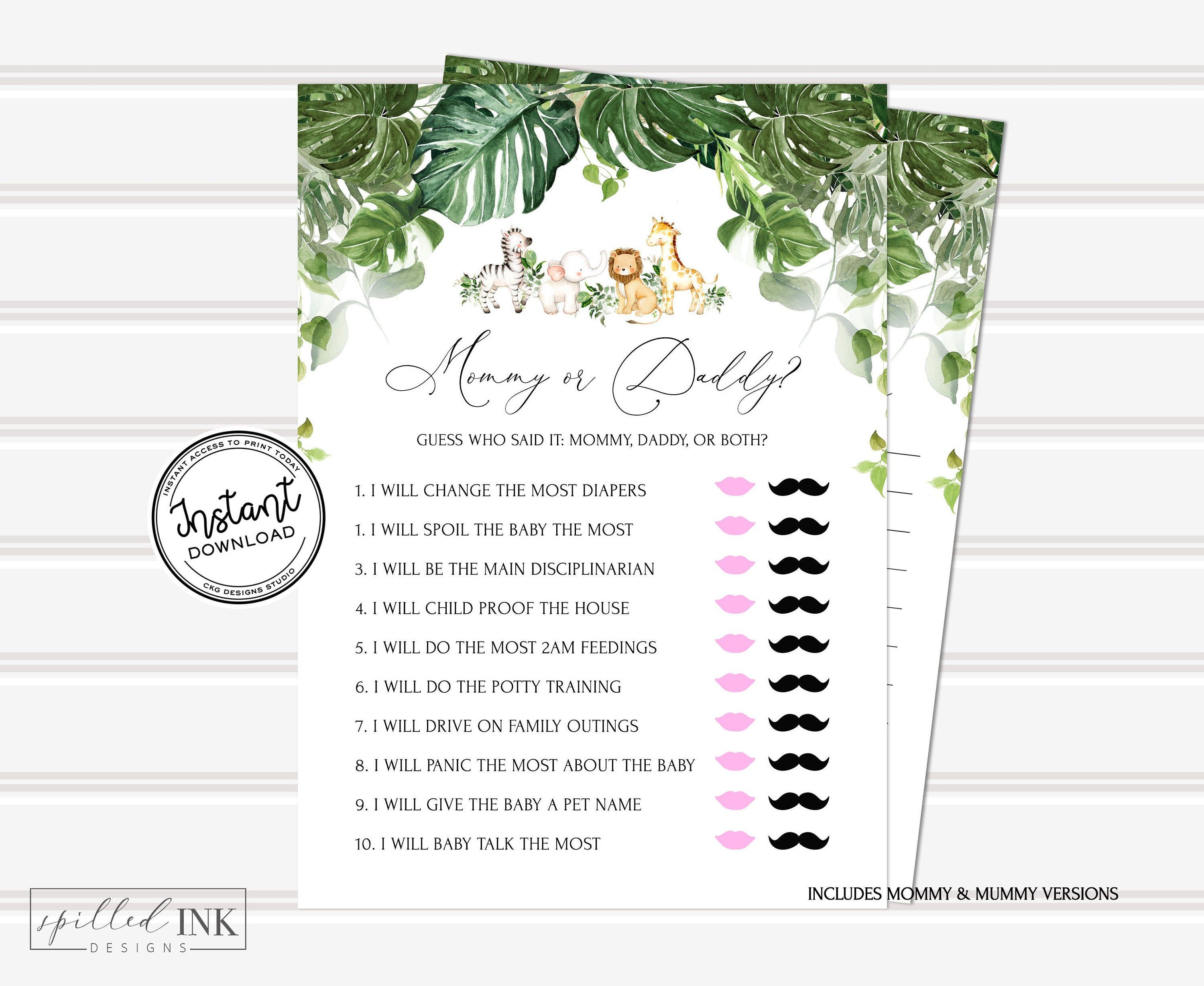 Mommy Or Daddy Baby Shower Game With Greenery And Safari