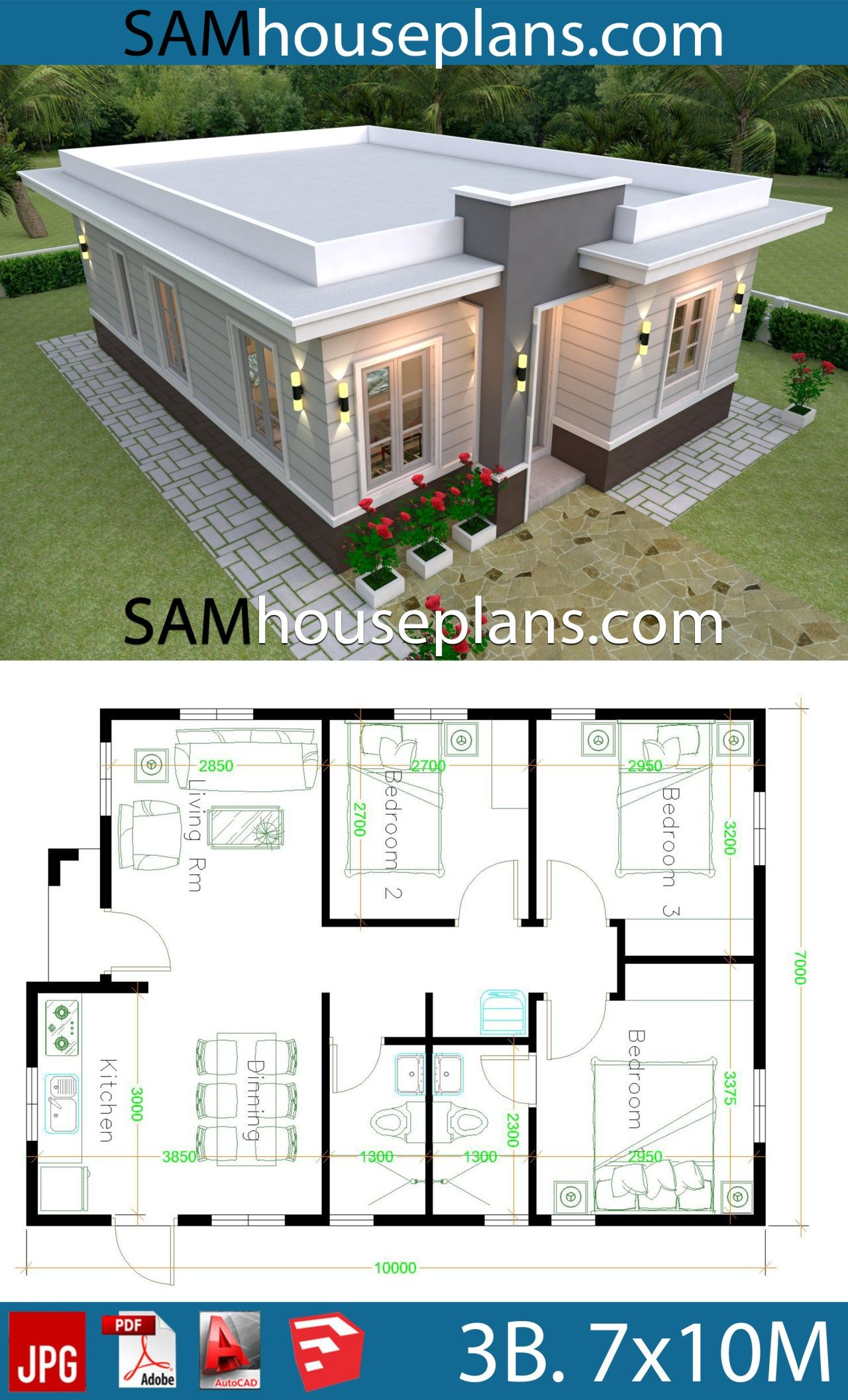 House Plans 7x10 With 3 Bedrooms With Terrace Roof Sam House Plans House Roof Design Modern Bungalow House House Plan Gallery