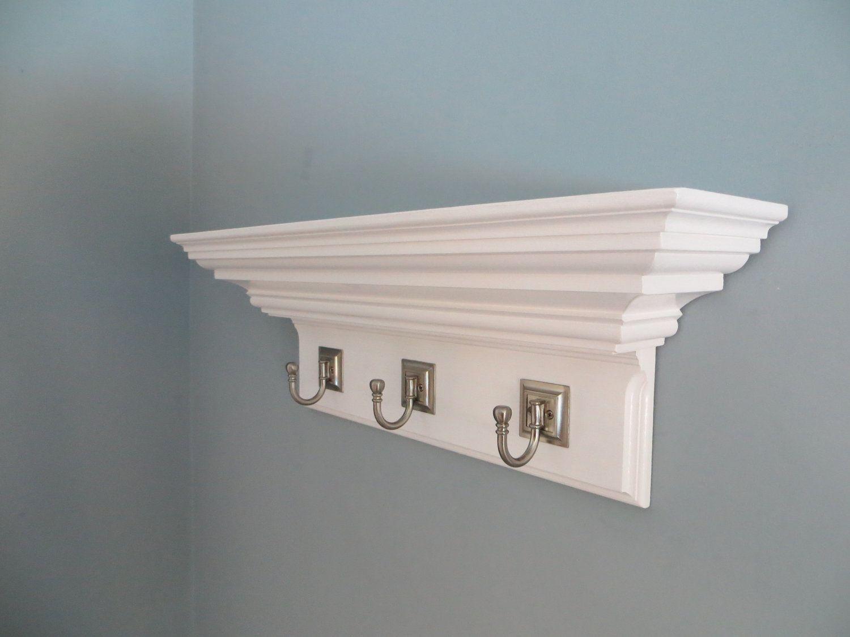crown molding shelf with hooks 24 Floating Wall Shelf