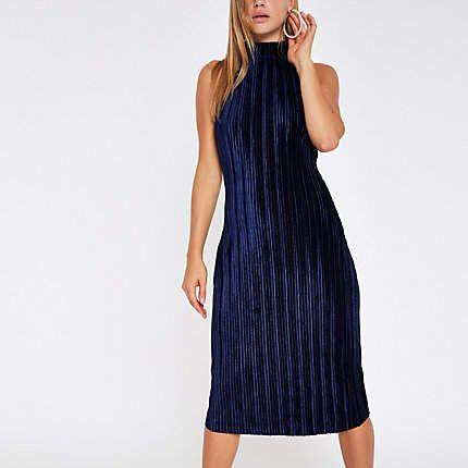 919dad01cf051 River Island Navy plisse high neck bodycon dress