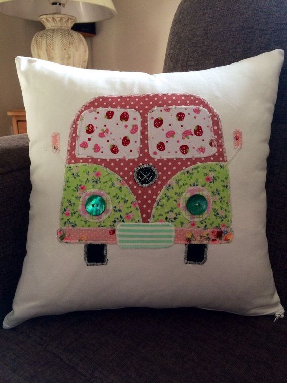 Patchwork personalised appliqued Campervan cushion | Patchwork ...