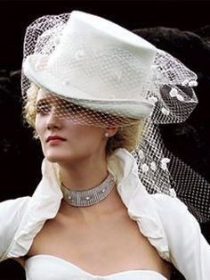 White Wedding Top Hat With Veil