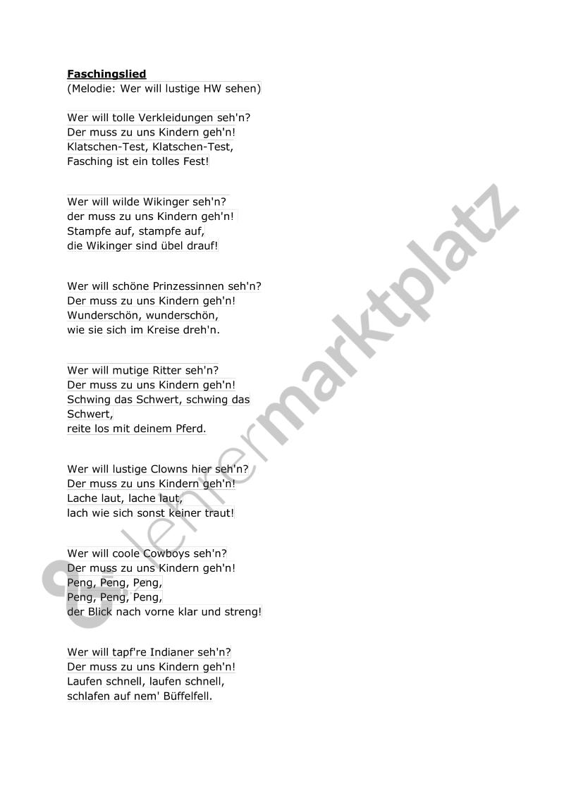 Faschingslied Lehreralltag Musik Lieder Reime Und Fingerspiele