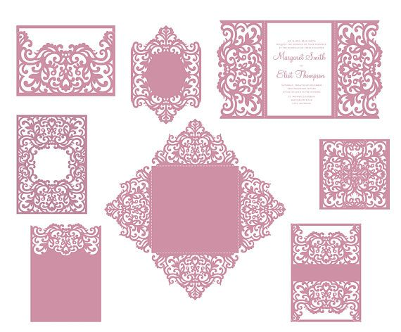 set laser cut wedding invitation templates gate fold card envelope frame belly band svg. Black Bedroom Furniture Sets. Home Design Ideas