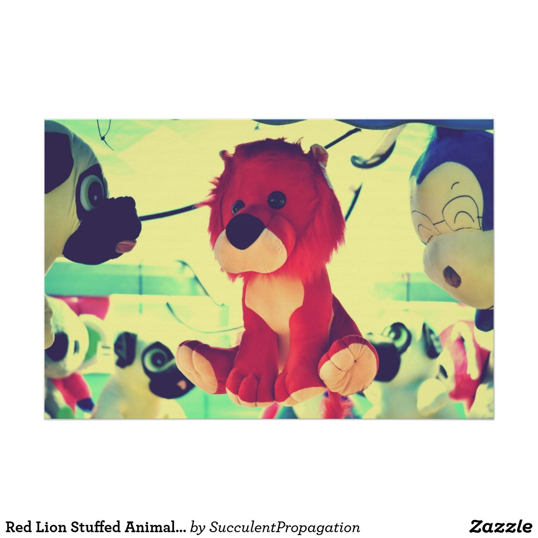 Red Lion Stuffed Animal Hipster Poster