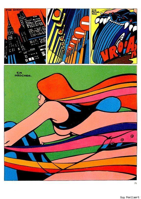 Guy Peellaert (Brussels, Belgium, 6 April 1934 – Paris, France, 17 November 2008) was a Belgian artist, painter, illustrator, comic artist and photographer, most famous for the book Rock Dreams, and his album covers for rock artists like David Bowie (Diamond Dogs) and The Rolling Stones (It's Only Rock 'n' Roll). He also designed film posters for films like Taxi Driver, Paris, Texas, and Short Cuts.