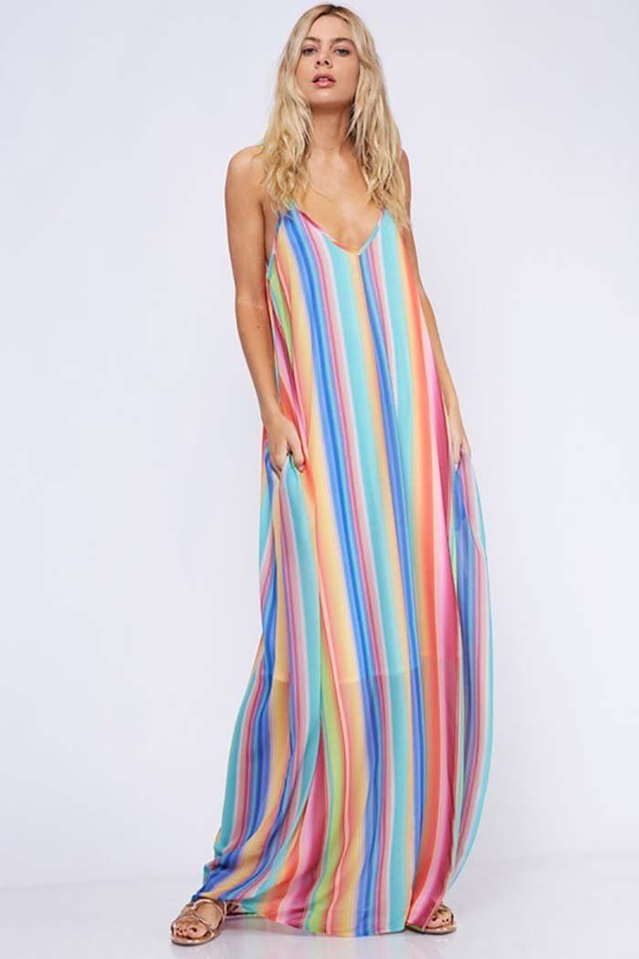 90738008aad Leah Rainbow Stripe Maxi Dress   Multi – GOZON Boutique