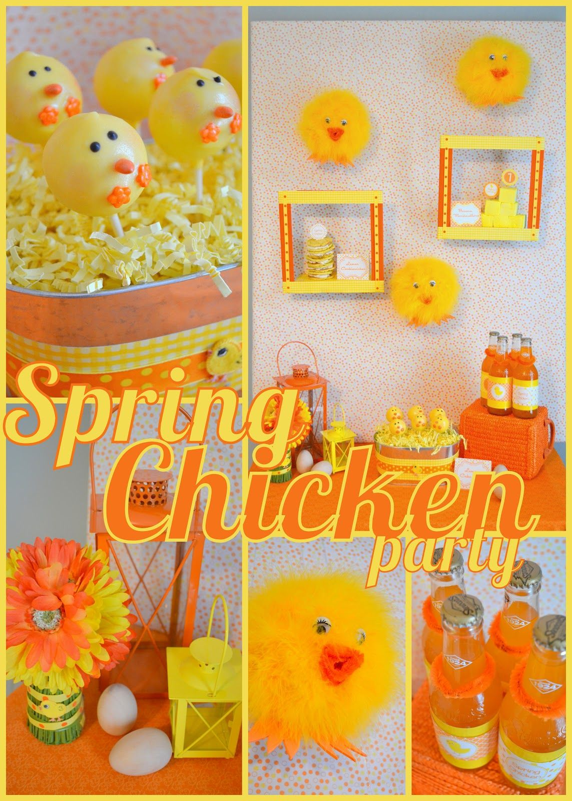 Spring Chicken Party - chick cake pops & fuzzy chick wall ...