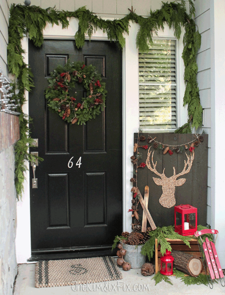 Simple Rustic Winter Front Porch LETS HOLIDAY