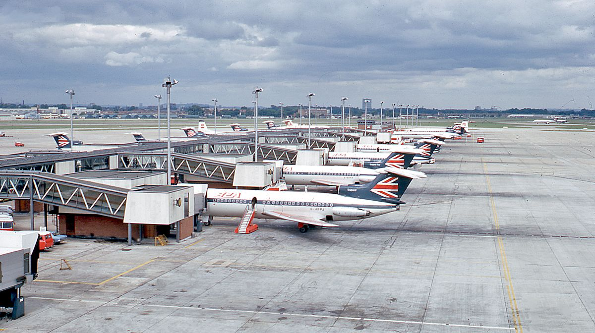 London Heathrow Airport, 1971. A lineup of Hawker