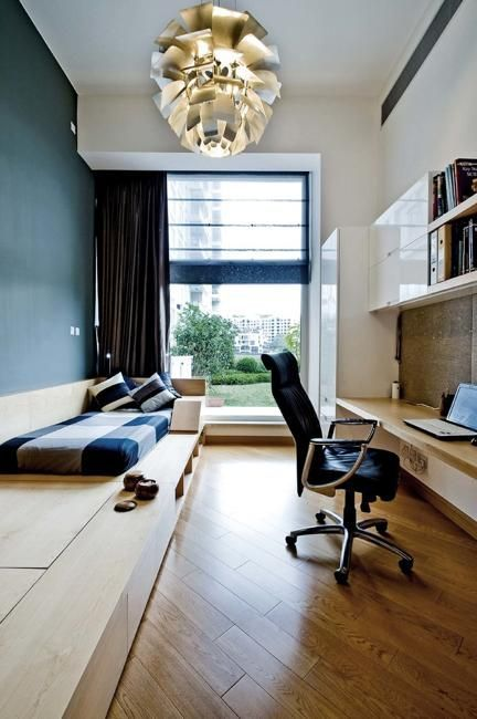 Wall Mounted Desk And Shelving For A Long And Narrow Room Guest Room Office Combo Guest Room Office Bedroom Design